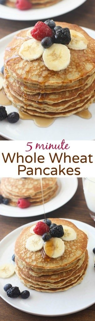 The BEST light and fluffy whole wheat pancakes that only take 5 minute ...