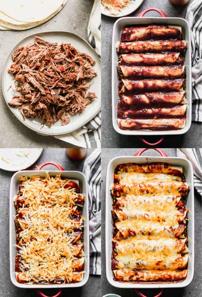 Four process photos for assembling and baking beef enchiladas.