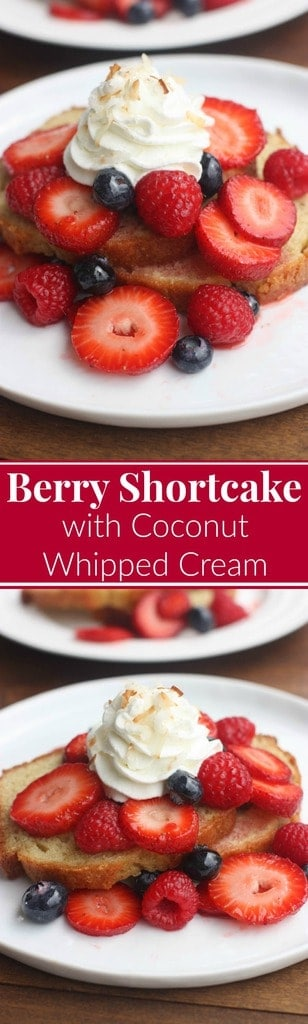 Berry Shortcake with Coconut Whipped Cream! Fresh berries served over a delicious homemade Greek yogurt pound cake and topped with coconut whipped cream and toasted coconut flakes. The BEST fresh light and easy summer dessert. | Tastes Better From Scratch