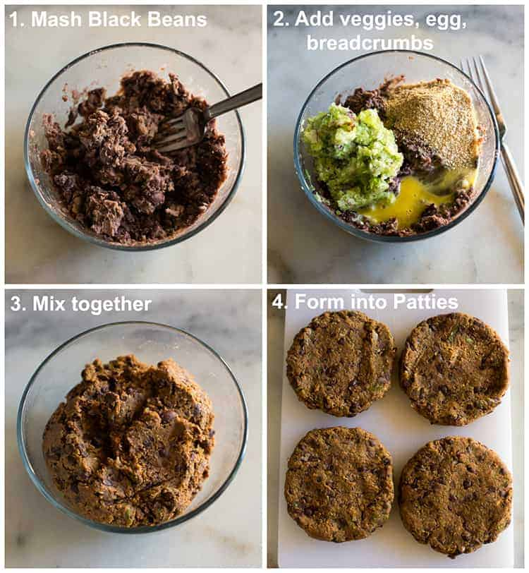 Process for making black bean burgers including black beans mashed in a bowl, pureed veggies, egg and breadcrumbs added, mixed together, and formed into four patties, with text instructions over the photos.