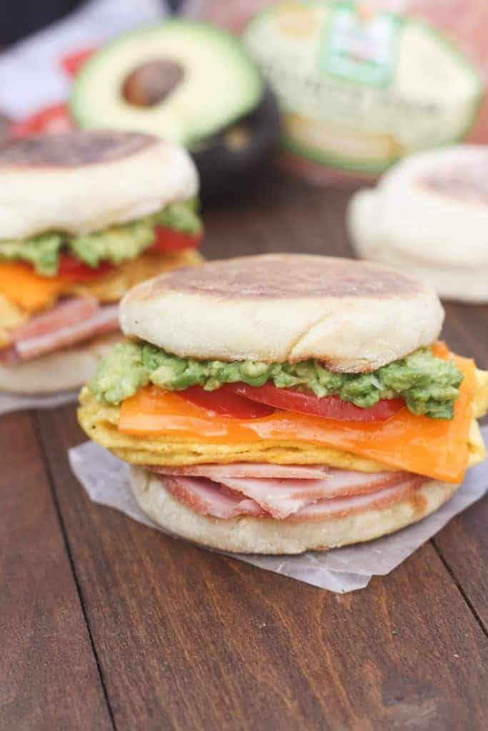 Cheesy Egg, Avocado and Ham Breakfast Sandwiches are perfect for using your leftover ham! They also make the best, easy freezer meals. | Tastes Better From Scratch