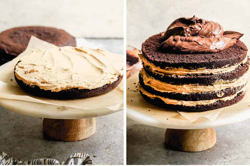 A round baked cake layer with peanut butter frosting smoothed over it, then three more layers of chocolate cake added on top with peanut butter frosting between the layers.