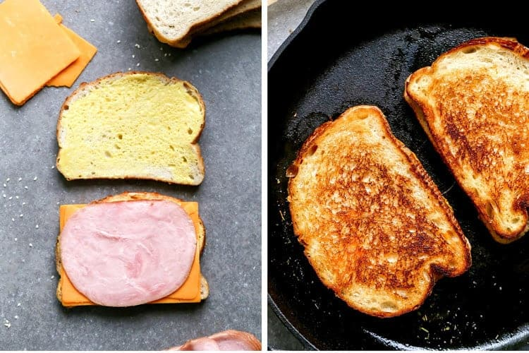 Two process photos for assembling and grilling a ham and cheese sandwich.