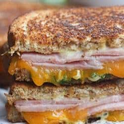 Grilled Ham and Cheese Sandwich with Honey Mustard Sauce