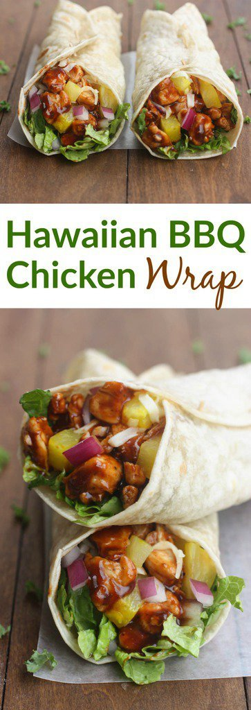 Nothing better than a little Hawaiian twist to BBQ chicken, layered inside a tasty wrap! These Hawaiian BBQ Chicken Wraps are EASY, healthy and delicious.  | tastesbetterfromscratch.com  #healthy #recipe #simple #withpineapple