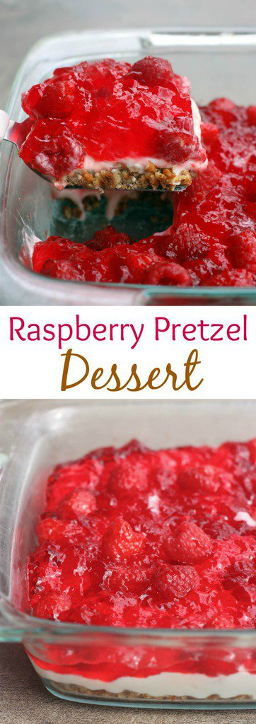 Raspberry Pretzel Jello Dessert - a favorite potluck and party dessert with layers of sweet and salt pretzel crust, whipped sweet cream cheese filling and raspberry jello topping! It's always a crowd pleaser! | Tastes Better From Scratch