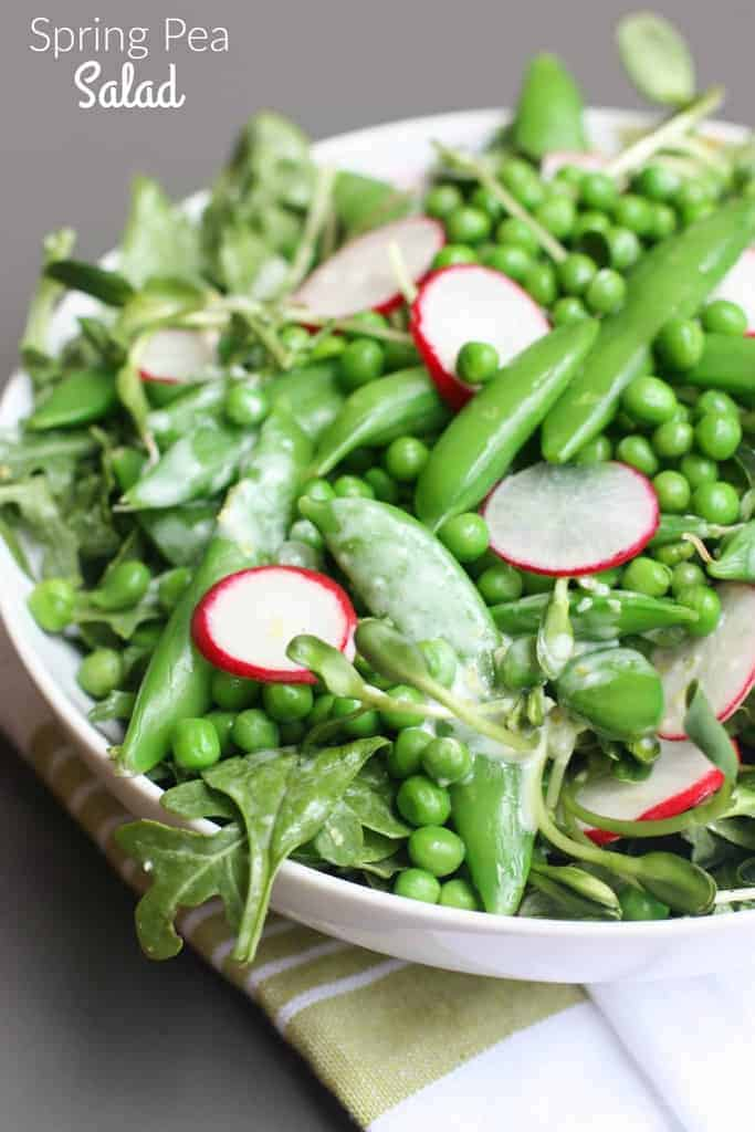 Spring Pea Salad - this delicious salad is one of my FAVORITES! It has three different types of peas and a delicious creamy lemon dressing. | Tastes Better From Scratch