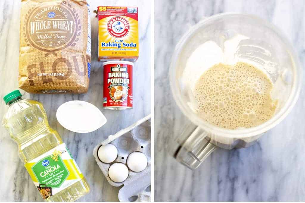 The ingredients needed for whole wheat pancakes, next to a blender with the blended batter.