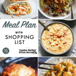A collage of 5 dinner images comprising a weekly meal plan.