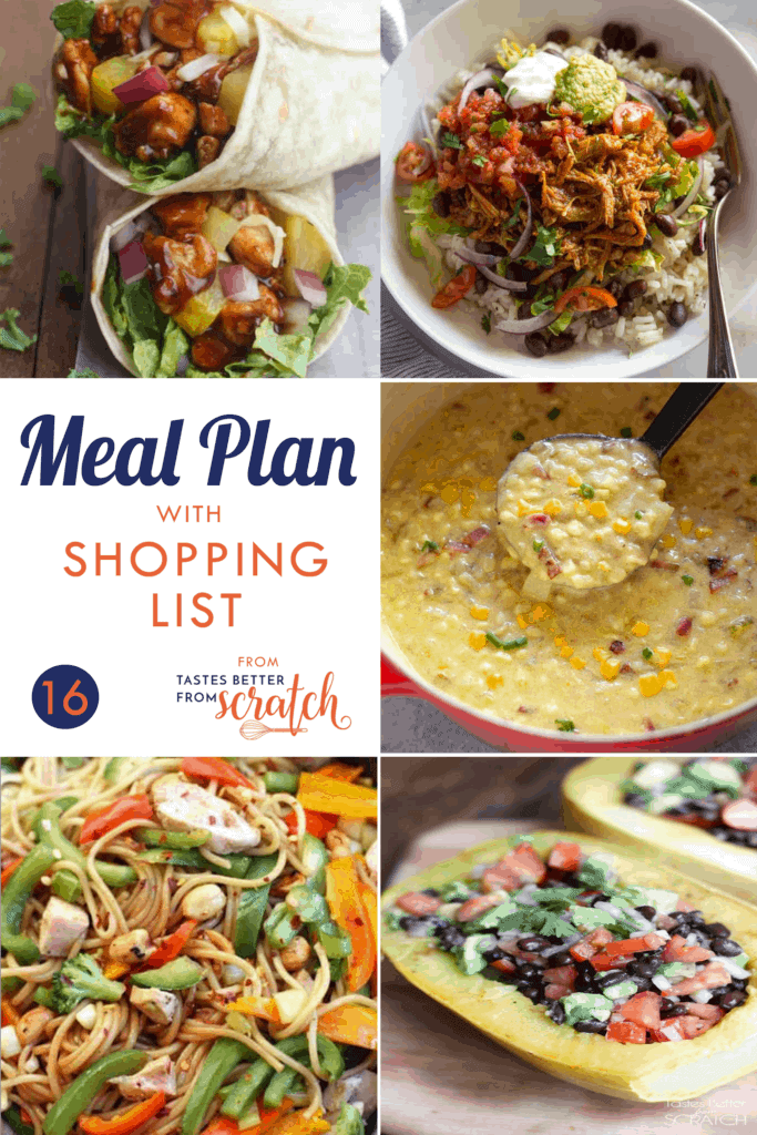 A collage of 5 dinner recipe images for a weekly meal plan.