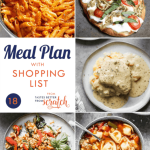 A collage of 5 dinner recipes images comprising a weekly meal plan