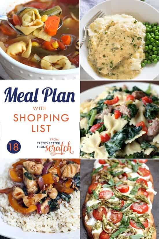 A 5-day meal plan with easy and family friendly dinners as well as a free printable shopping list so that you always have an answer for that nagging question, What's for dinner?