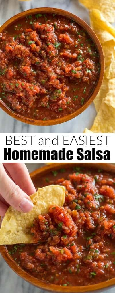 This really is the BEST 5-minute Homemade Salsa that tastes even better than what you'd enjoy at a Mexican restaurant, made with the simplest ingredients. | tastesbetterfromscratch.com #salsa #Mexican #homemade #easy #best #canned