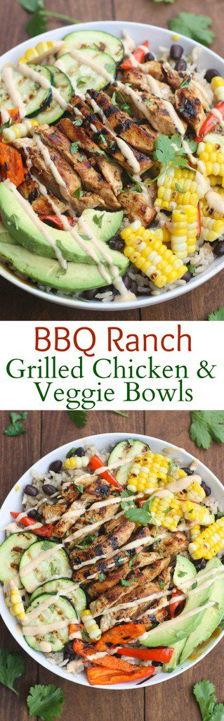 BBQ Ranch Gilled Chicken and Veggie Bowls served over black bean rice with delicious grilled veggies, marinated and grilled chicken, and BBQ Ranch Dressing.  #dinner #healthy #ranch