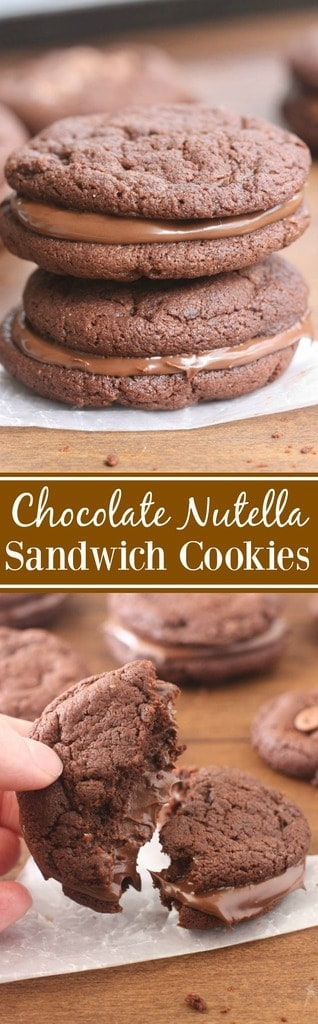 Thick and chewy chocolate cookies made into a sandwich cookie with Nutella in the center.| tastesbetterfromscratch.com