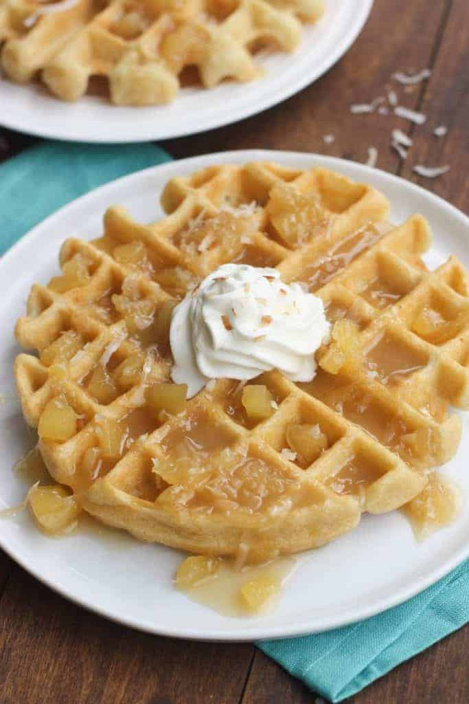 Breakfast or Brunch Recipe for Coconut Cream Waffles with Pineapple Syrup