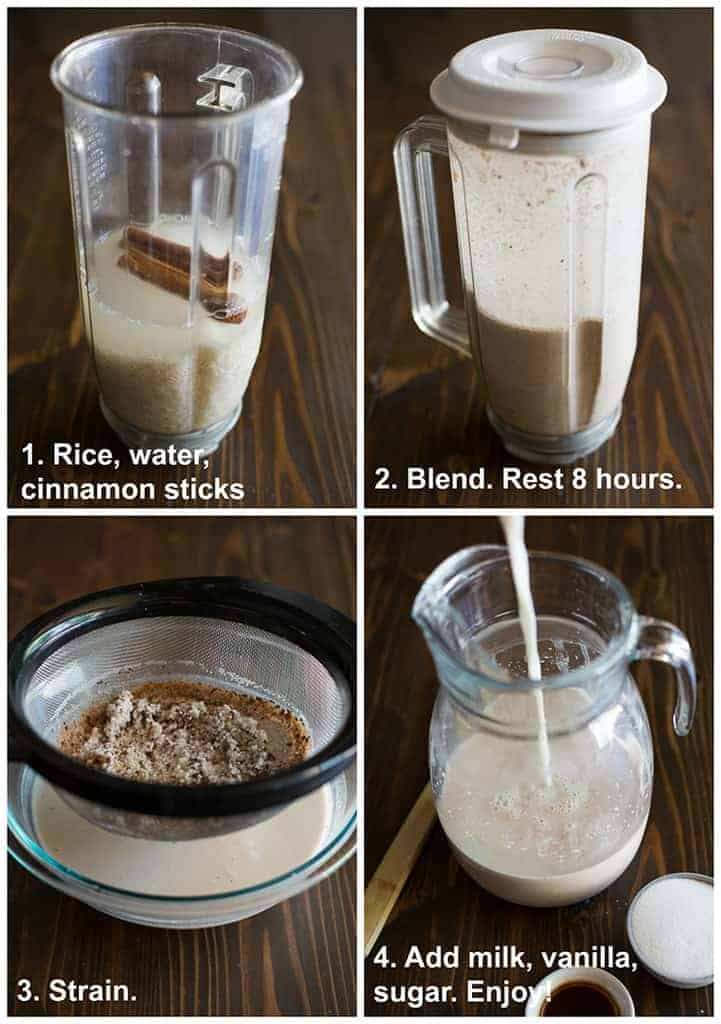 Four process photos for making Horchata with text instructions including rice, water and cinnamon sticks in a blender, blended, strained, and poured into a pitcher.