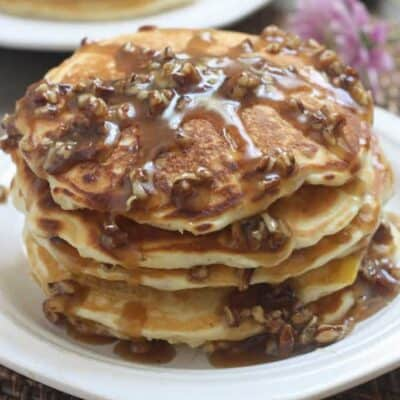 Maple Bacon Pancakes with Pecan Praline Topping