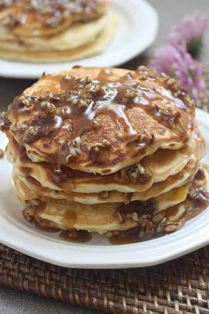 Maple Bacon Pancakes with Pecan Praline Topping | Tastes Better From ...