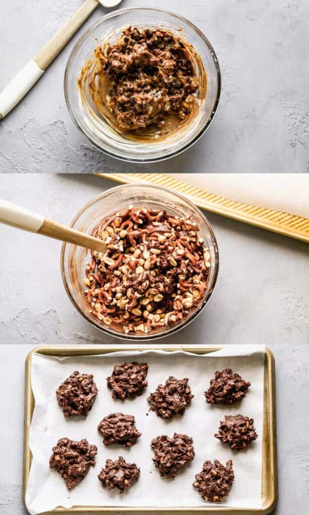 Three collage images for how to make peanut clusters.