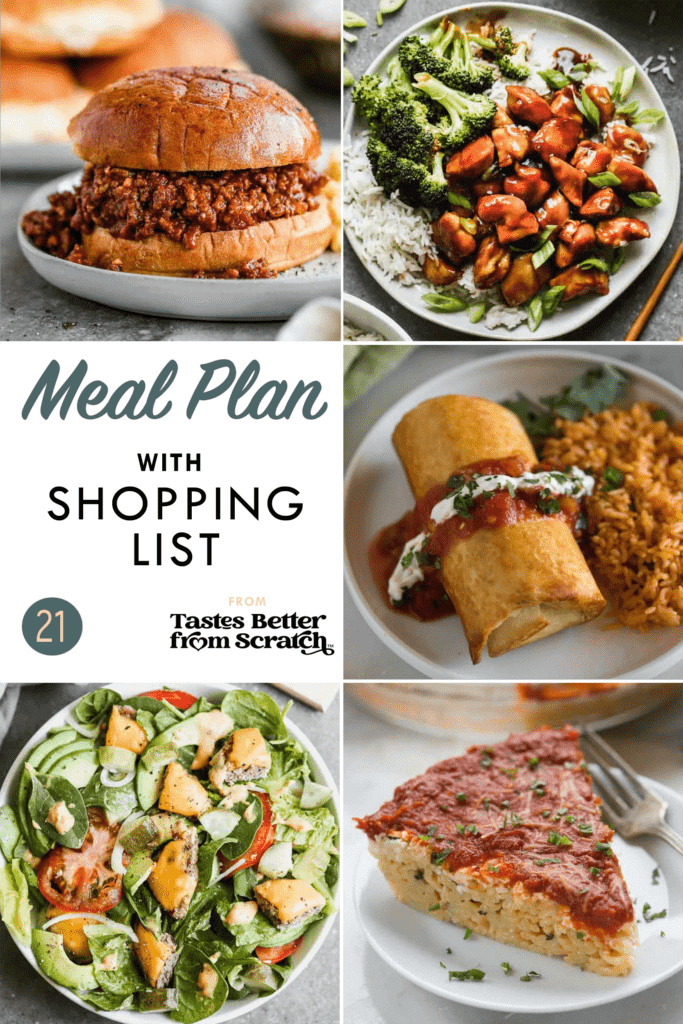 Collage of 5 dinner recipes images for meal plan 21