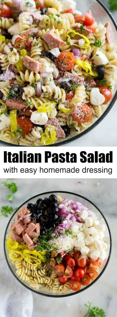 Everyone always loves this cold pasta salad with homemade Italian dressing. It starts with rotini noodles, tomatoes, olives, mozzarella, pepperoni or hard salami, onion, and pepperoncini tossed together in a delicious homemade Italian dressing, making it the perfect Classic Italian Pasta Salad recipe to serve as a side for a BBQ or potluck. #pasta #pastasalad #italiandressing #easy #best #homemade #recipe #cold