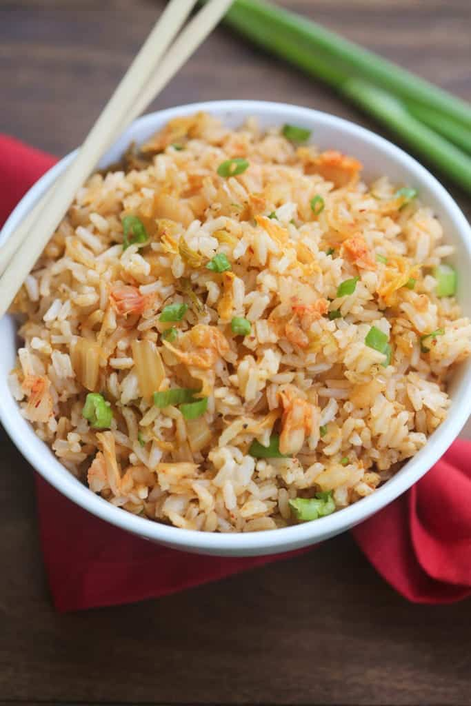 Kimchi Fried Rice with chop sticks.