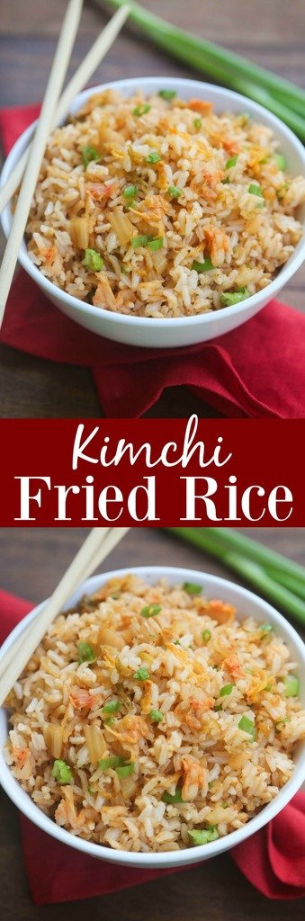 Kimchi Fried Rice is full of fresh and bold flavor. My favorite type of fried rice that takes just 5 minutes to make! | Tastes Better From Scratch