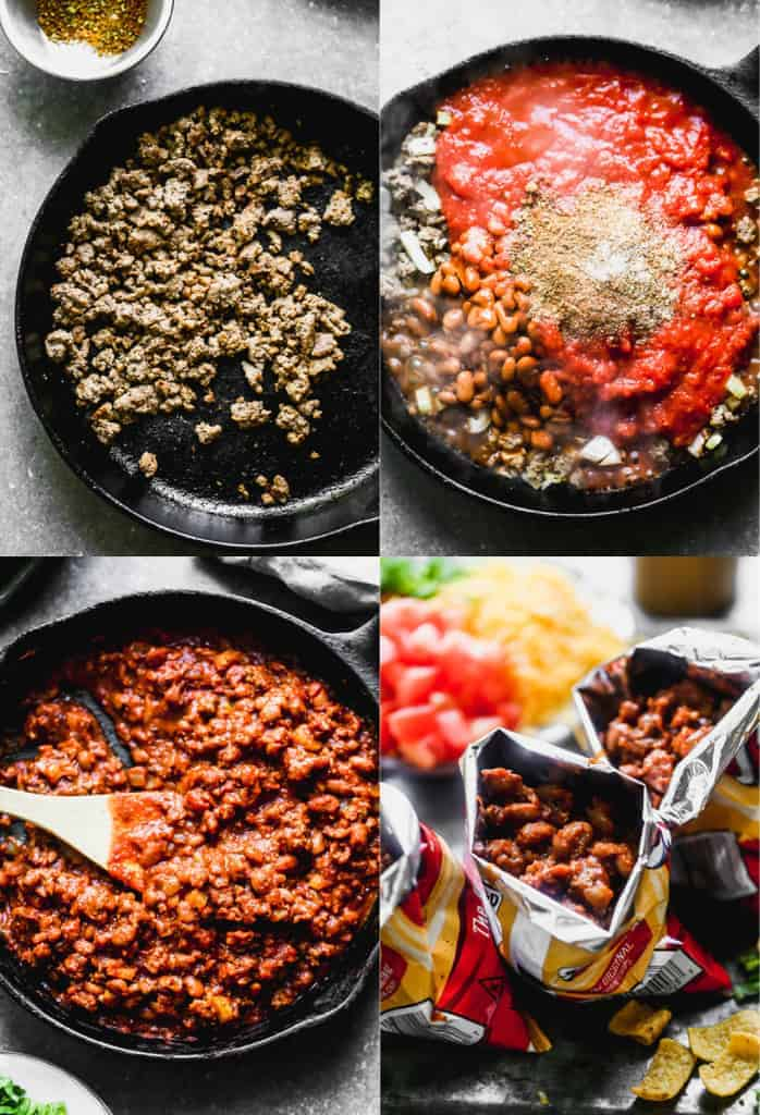 Four process photos for making Walking tacos including the meat mixture cooking in a skillet, then added to a bag of Fritos.
