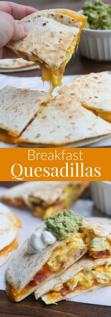 Breakfast Quesadillas with bacon, egg and cheese. An easy breakfast or ...