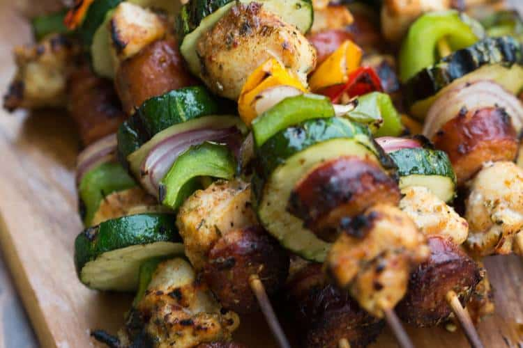 Cajun Chicken and Sausage Kebabs with bell peppers, zucchini and onion.   tastesbetterfromscratch.com