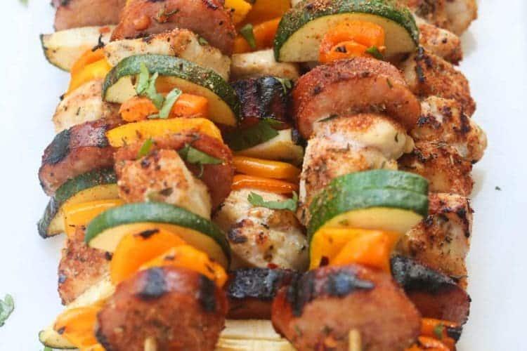 Cajun Chicken and Sausage Kebabs