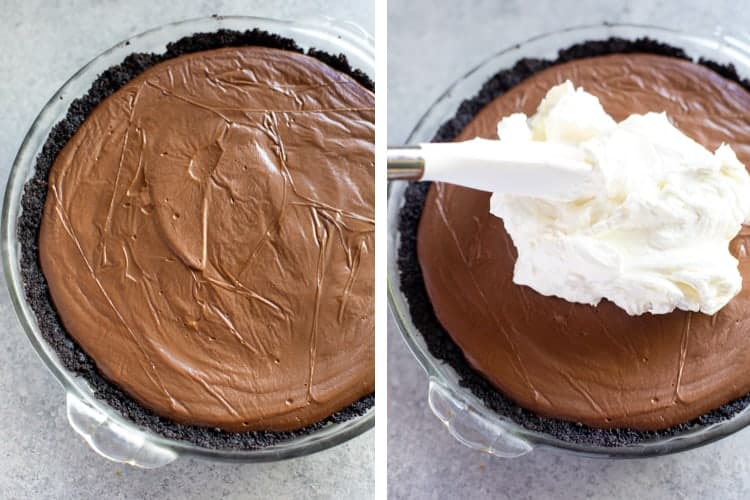 A clear glass pie pan with oreo crust and chocolate cream pie in it, next to another photo of a spatula spreading whipped cream on top of the pie.