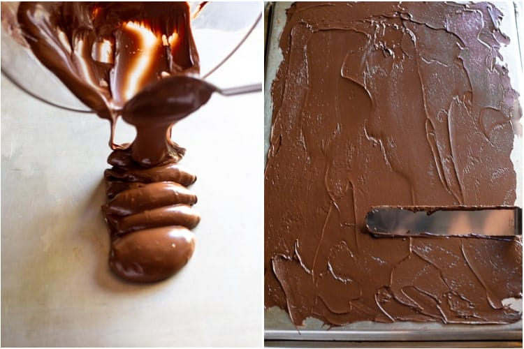 Melted chocolate being poured onto the back of a baking sheet, next to a photo of the chocolate being smoothed into a thin layer with an offset spatula.