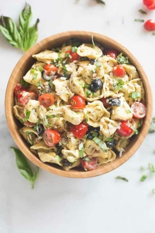 Creamy Pesto Tortellini Pasta Salad | tastesbetterfromscratch.com