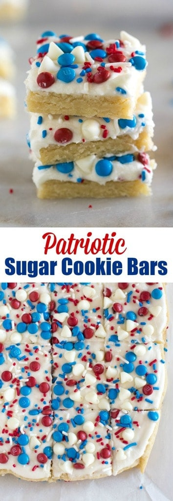 Add some American pride to your summer bbq or potluck with these easy Patriotic Sugar Cookie Bars! They're thick, soft and chewy Fourth of July cookies decorated with red, white and blue sprinkles and candy. #fourthofjuly #cookies #dessert #bars #redwhiteblue #memorialday #patriotic #cookies #sugarcookies