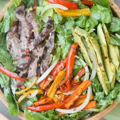Steak Fajita Salad with Cilantro Lime Dressing