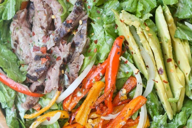 Steak Fajita Salad with Cilantro Lime Dressing | Tastes Better From Scratch