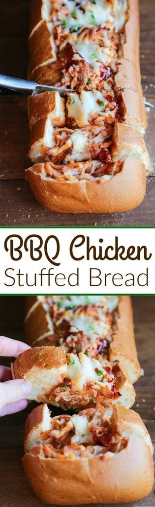 BBQ Chicken Stuffed Bread - Crusty artisan bread filledwith cheesy bbq chicken filling. A fun twist to traditional BBQ chicken pizza--perfect for game day appetizers or an easy dinner idea. | Tastes Better From Scratch