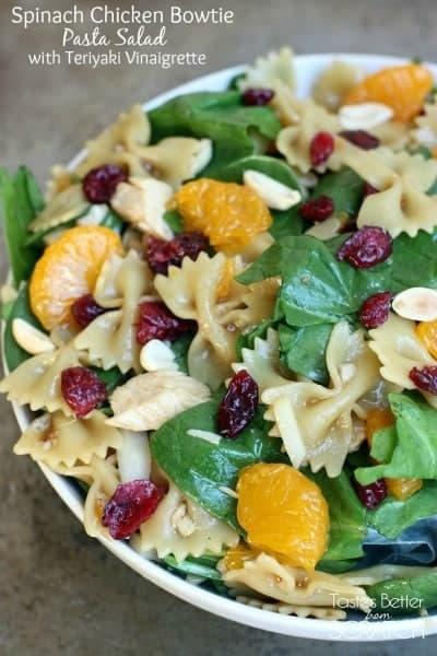 Spinach Chicken Bowtie Pasta Salad