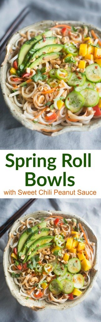 All of the flavor you love from fresh spring rolls, transformed into delicious Spring Roll Bowls with Sweet Chili Peanut Sauce.| Tastes Better From Scratch