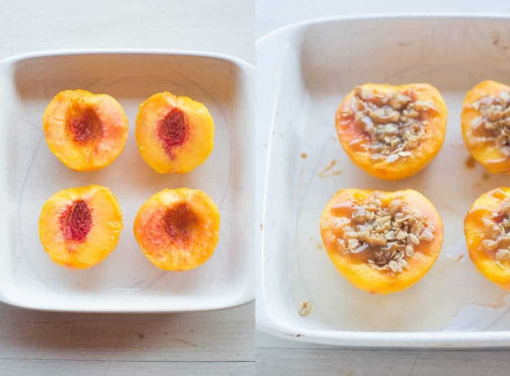 Two process photos for filling fresh peach halves with crumble topping and baking.