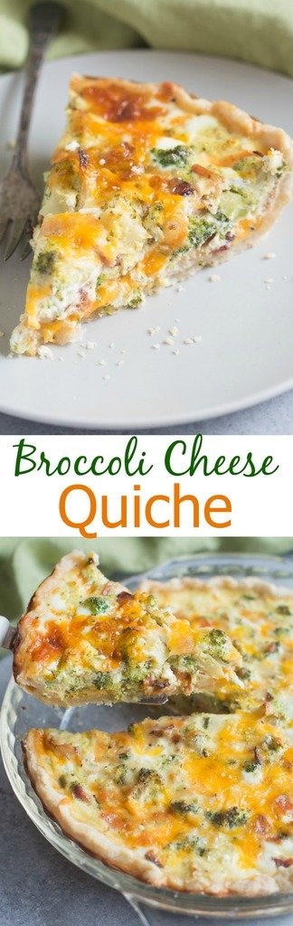 Broccoli Cheese Quiche made in my favorite homemade pie crust. Family and friends alike love this easy brunch recipe! | Tastes Better From Scratch