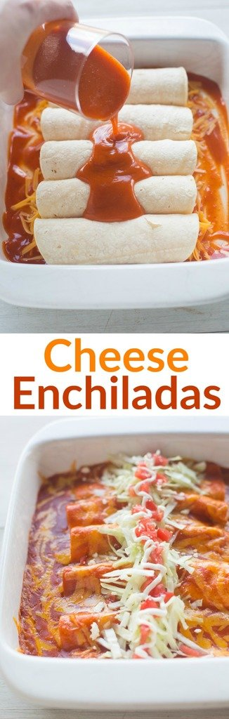 The BEST homemade Cheese Enchiladas! Our favorite authentic cheese enchiladas are easy, fast and insanely delicious! | tastesbetterfromscratch.com  #authentic #mexican #receta #easy