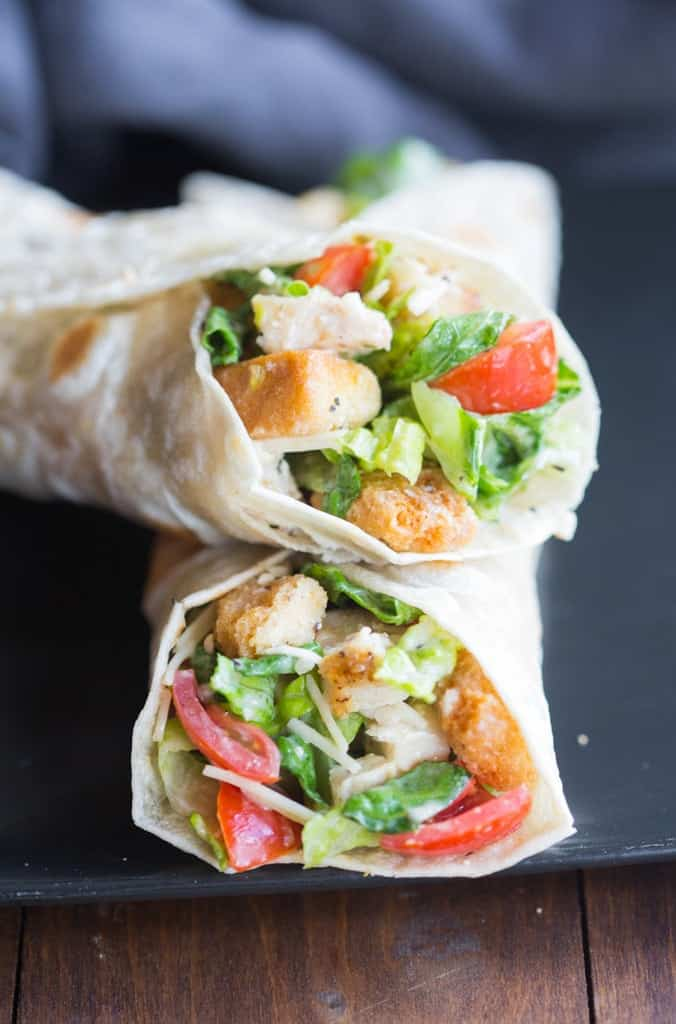 Two Chicken Caesar Wraps stacked on one another.