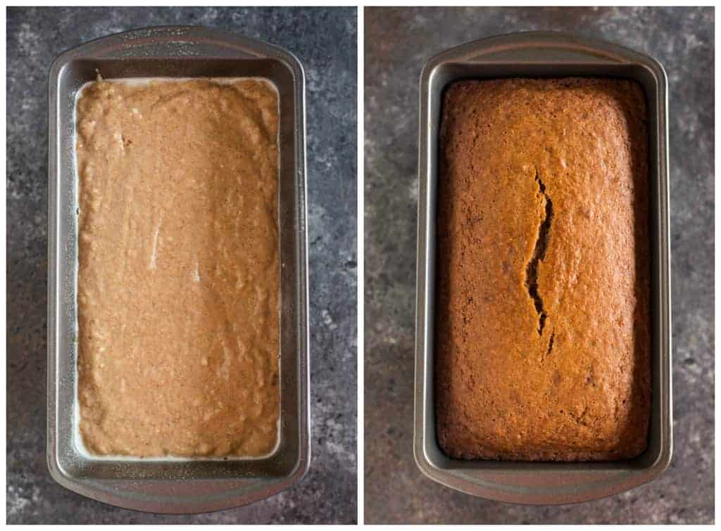 Overhead photos of cinnamon applesauce bread in the bread pan before and after being baked.