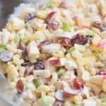 Macaroni Fruit Salad is creamy, fresh, and delicoius. A sweet and tangy crunch and conbination of flavors perfect for a potluck meal or food at a baby or bridal shower. | Tastes Better From Scratch