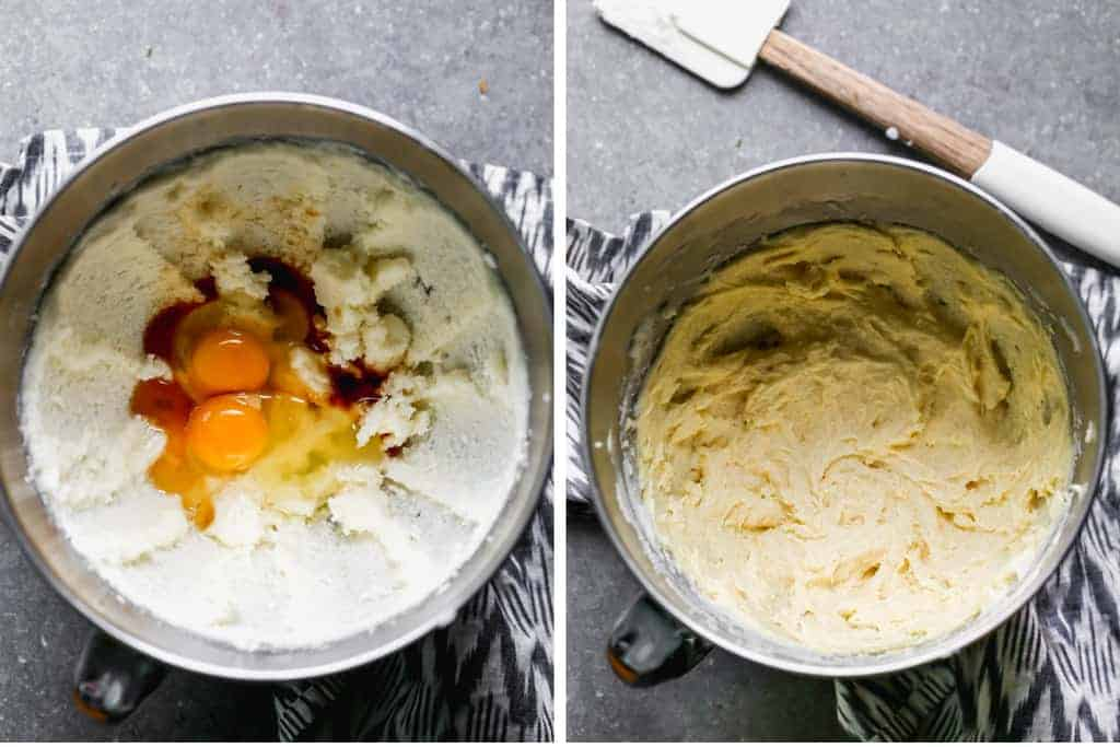 Two process photos for making snickerdoodle cookie dough in a mixing bowl.