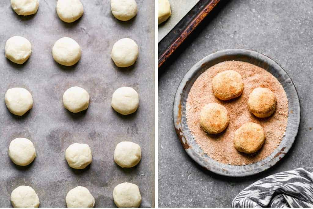 A pan of cookie dough balls and a bowl with a few of the balls rolled in cinnamon sugar to make snickerdoodles.