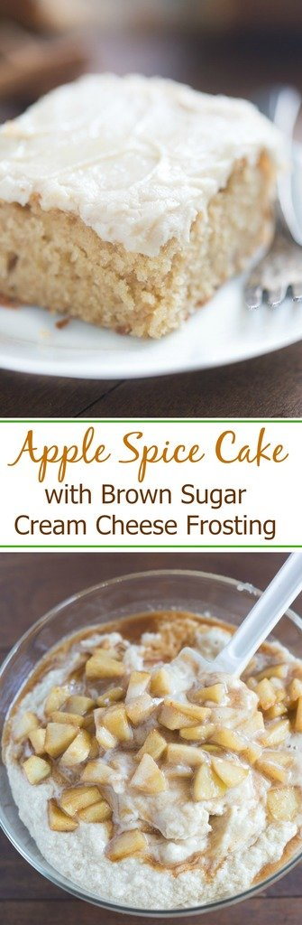 Apple Spice Cake with Brown Sugar Cream Cheese Frosting has real apple chunks and a smooth and creamy frosting.  | tastesbetterfromscratch.com